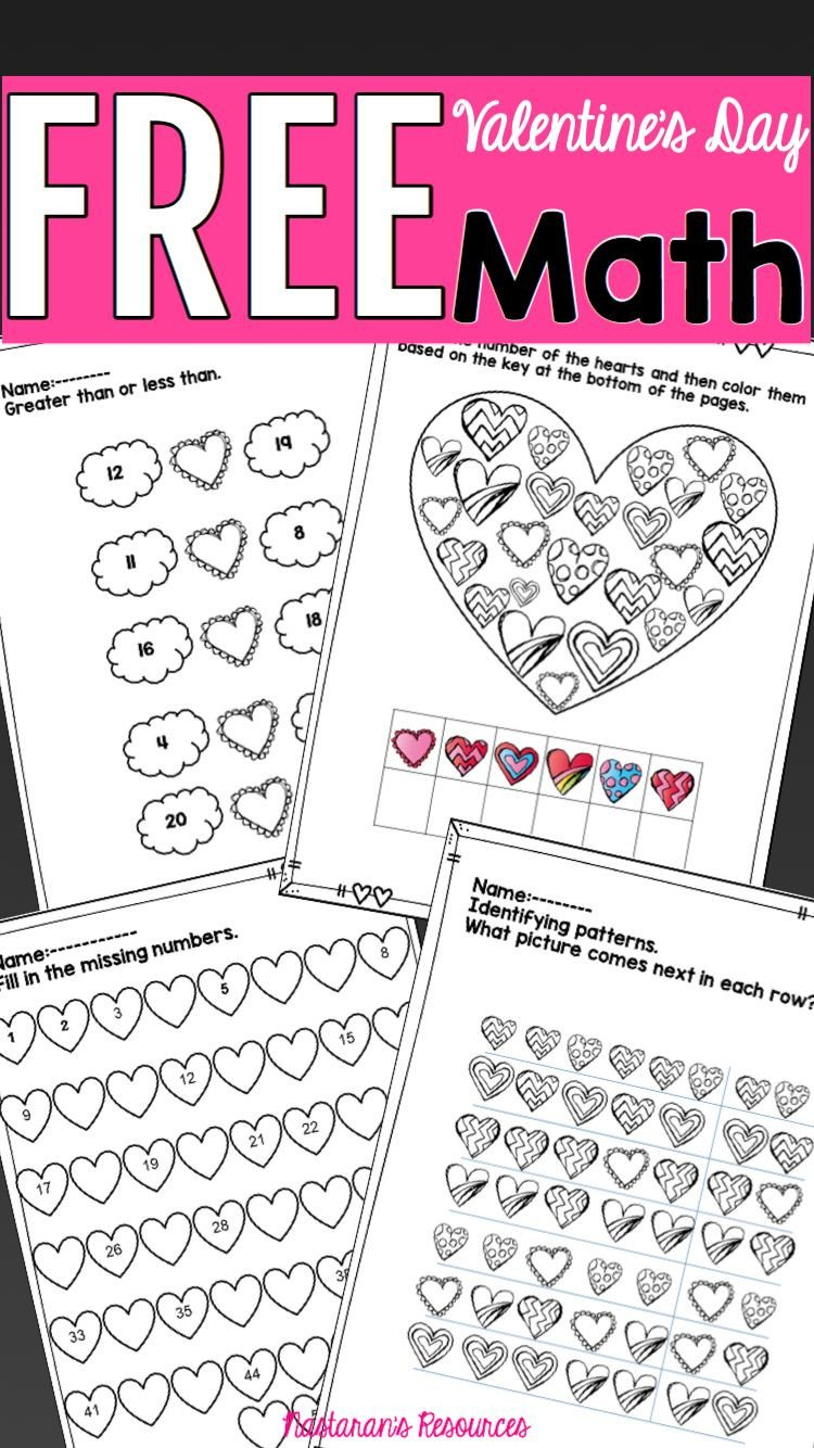Kindergarten Valentine Math Worksheets Valentine S Day Math Printable Worksheets Freebie