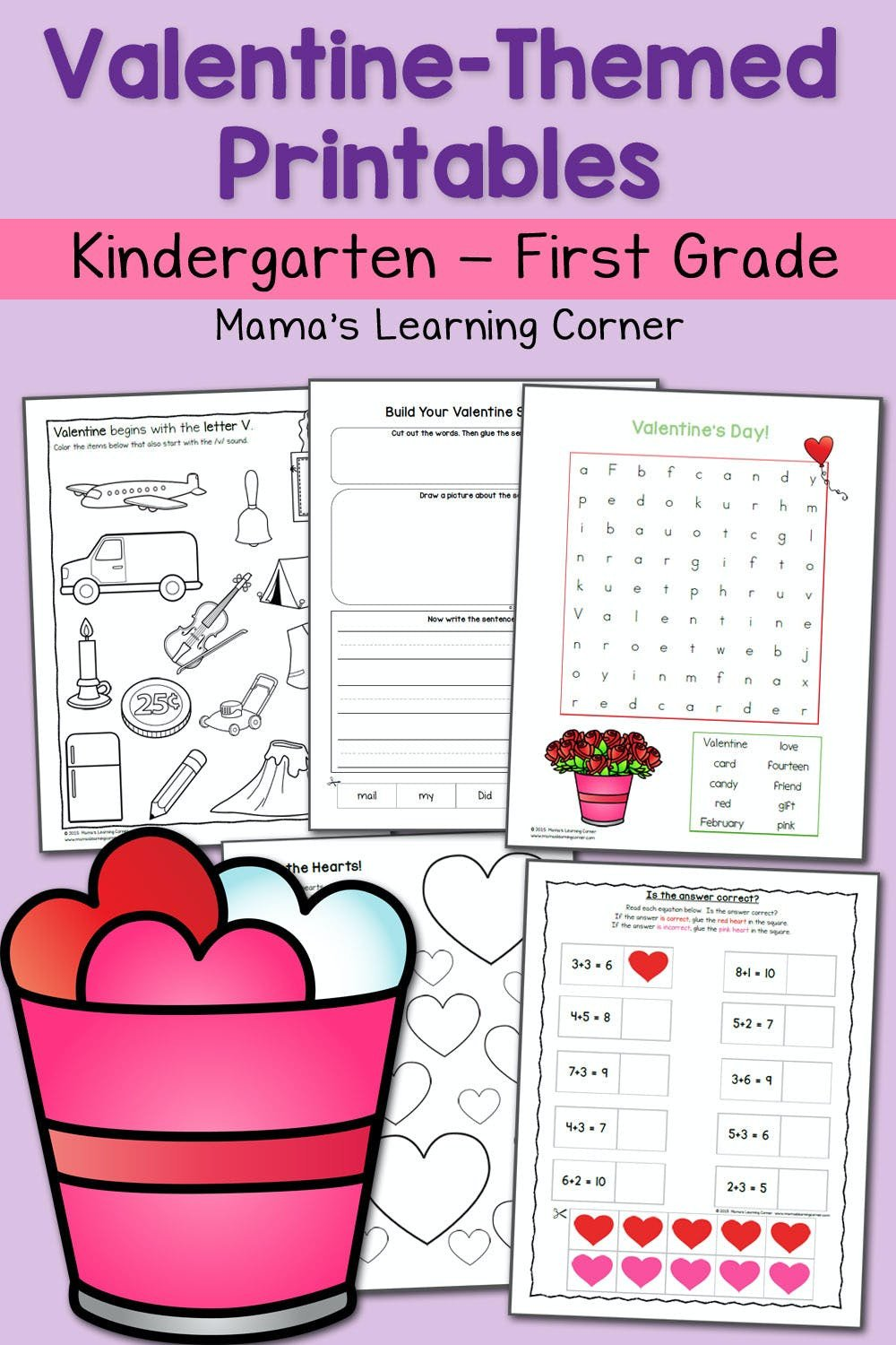 Kindergarten Valentine Math Worksheets Valentine Worksheets for Kindergarten and First Grade