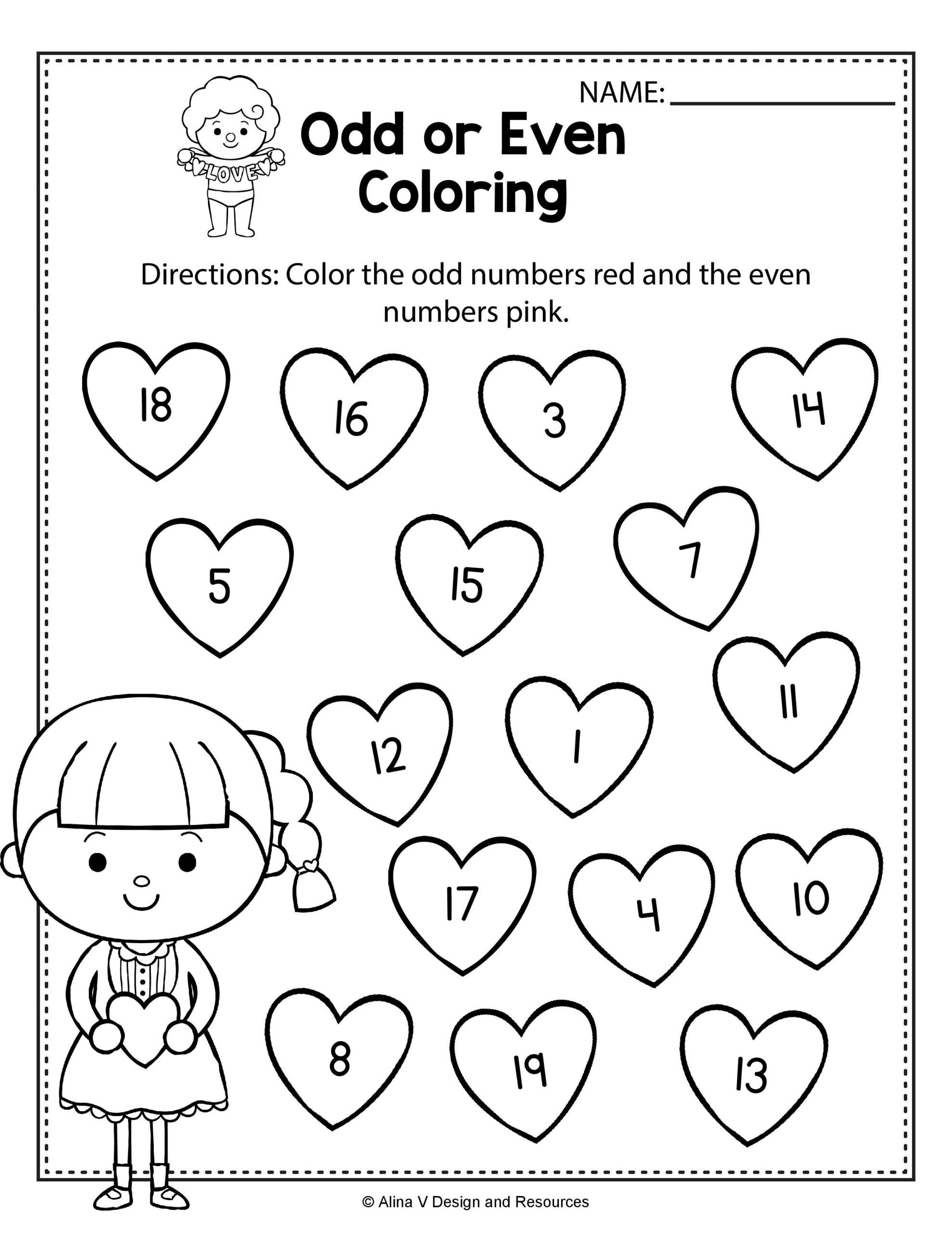 Kindergarten Valentine Math Worksheets Worksheets Valentine Odd even Coloring Math Worksheets