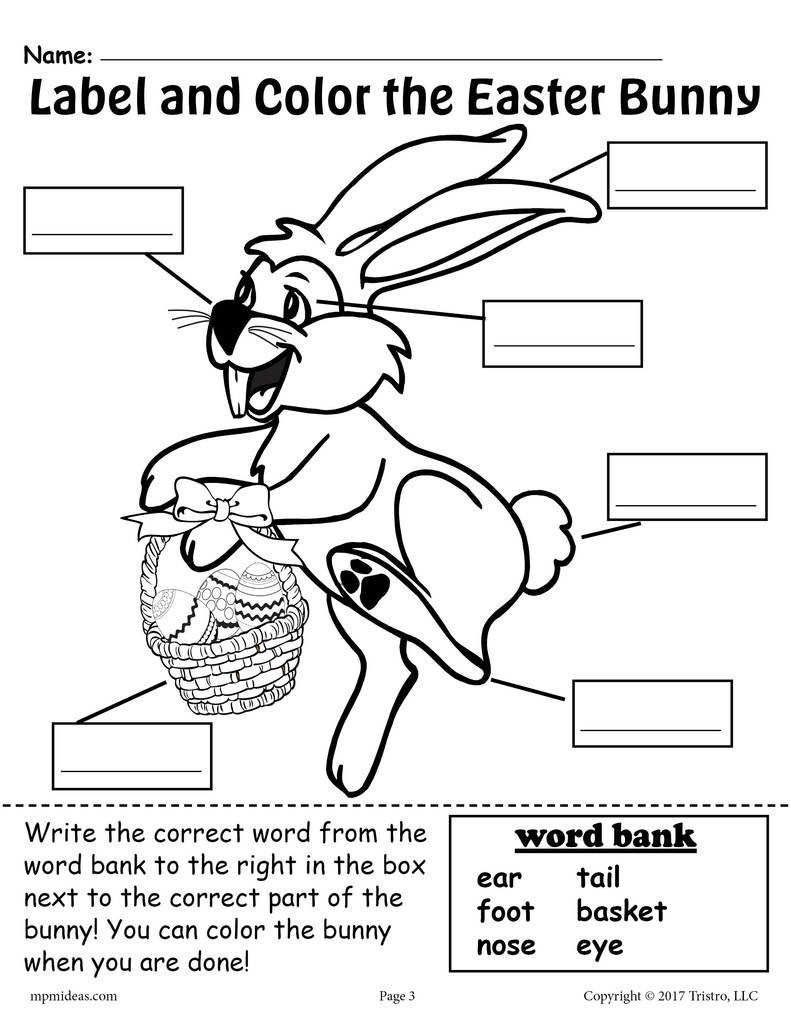 Labeling Worksheets for Kindergarten Label the Easter Bunny 2 Printable Easter Worksheets Including A Cut and Paste Worksheet