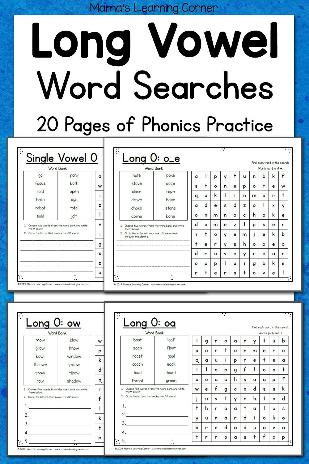 Long Vowels Worksheets Kindergarten Long Vowel Word Search Puzzles Mamas Learning Corner