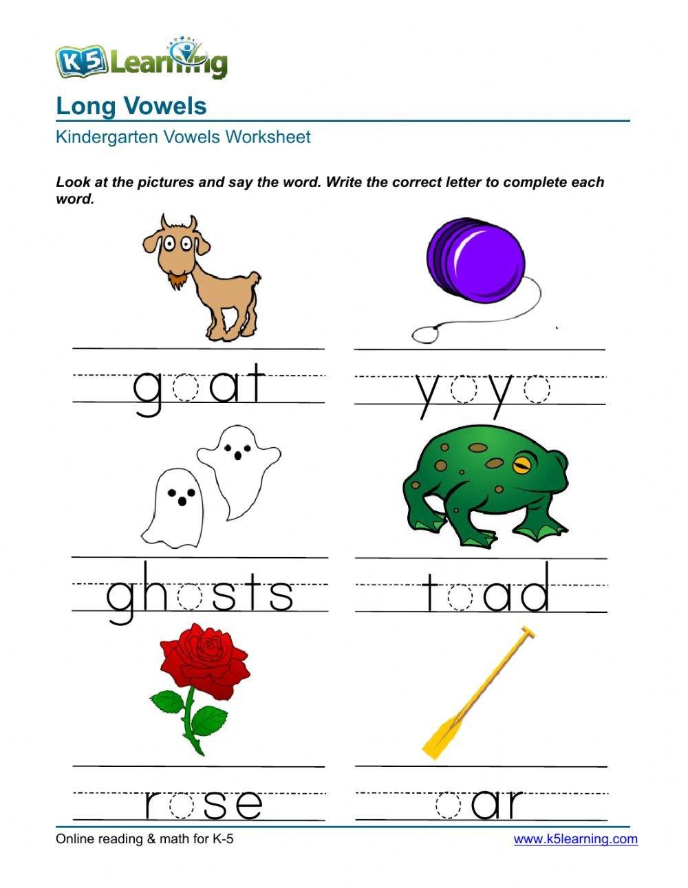 Long Vowels Worksheets Kindergarten Long Vowels Interactive Worksheet