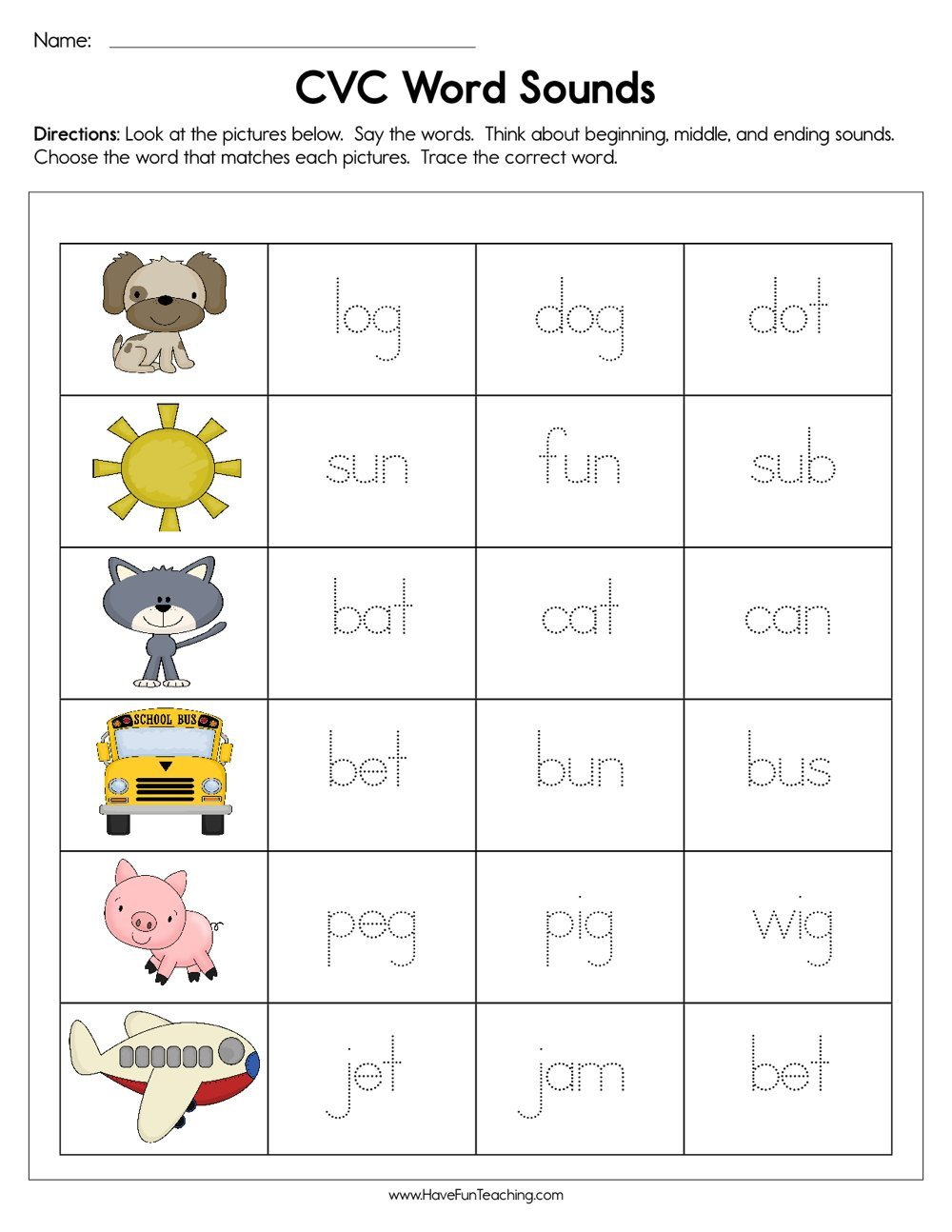 Middle sound Worksheets for Kindergarten Cvc Word sounds Worksheet