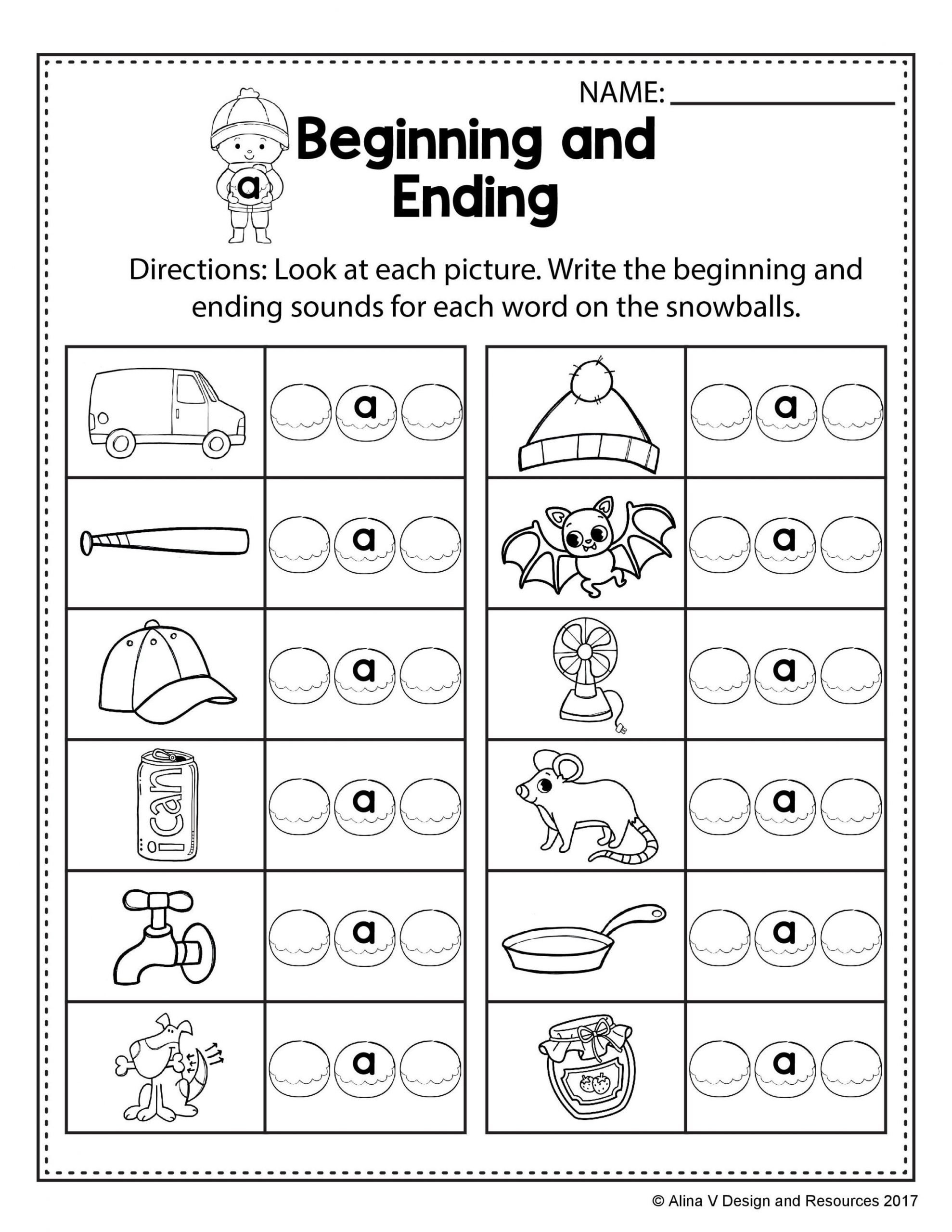 Middle sound Worksheets for Kindergarten Ending sounds Worksheet