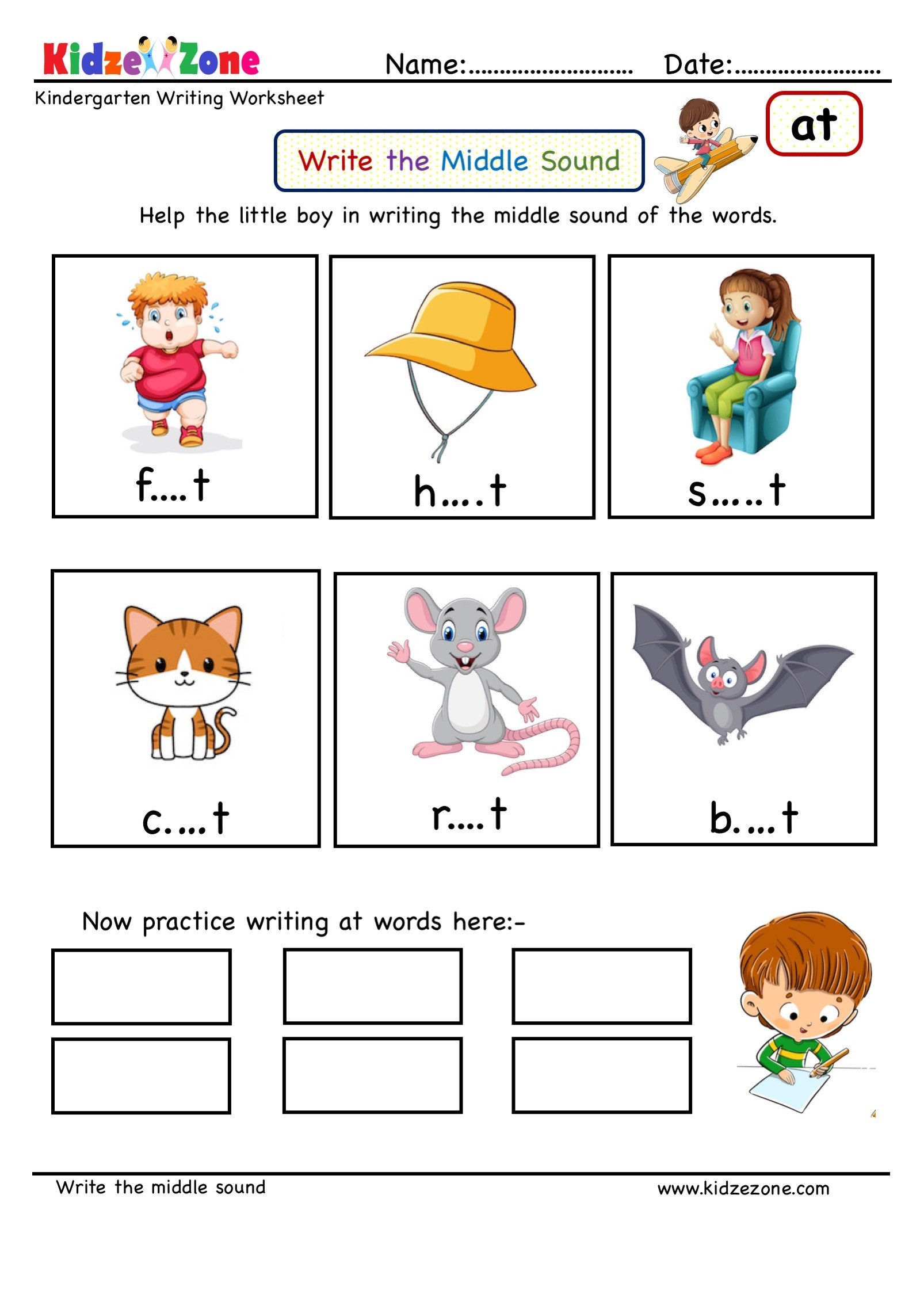 Middle sound Worksheets for Kindergarten Kindergarten Worksheets at Word Family Writing Middle sound