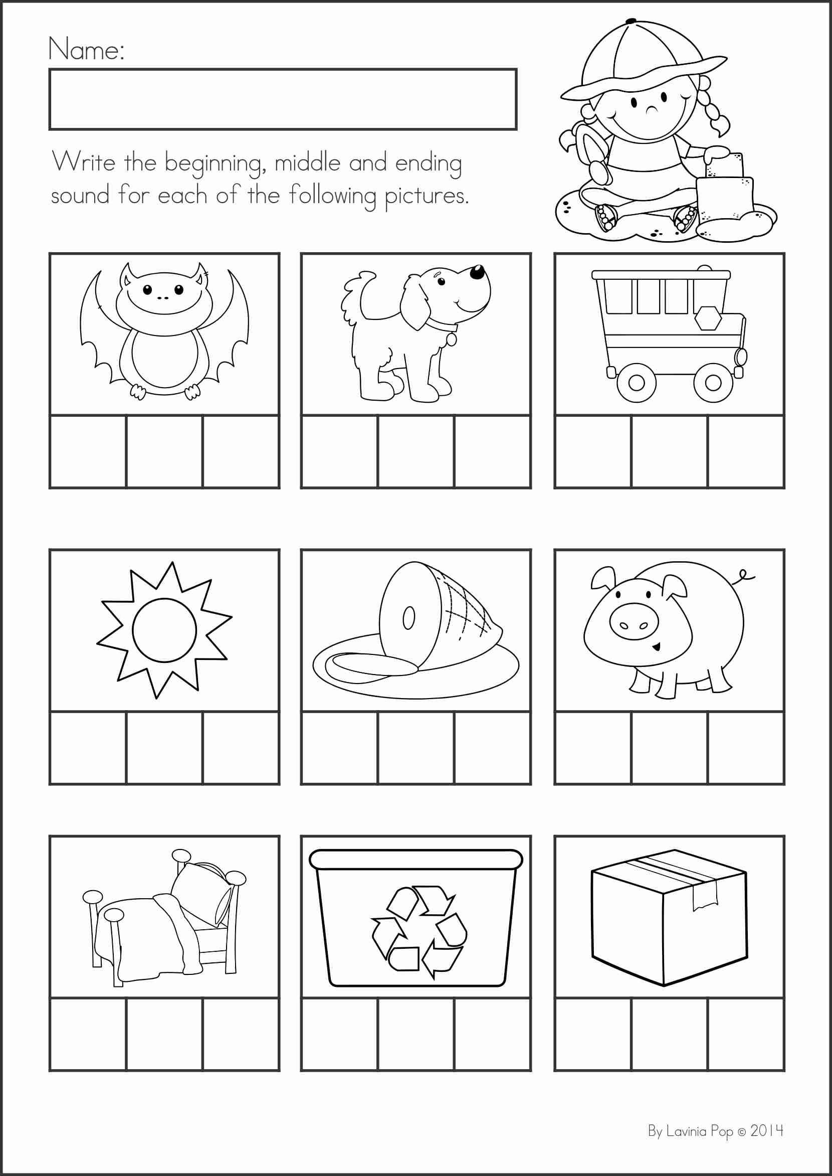 Middle sound Worksheets for Kindergarten Pin by Annette Maier On Education