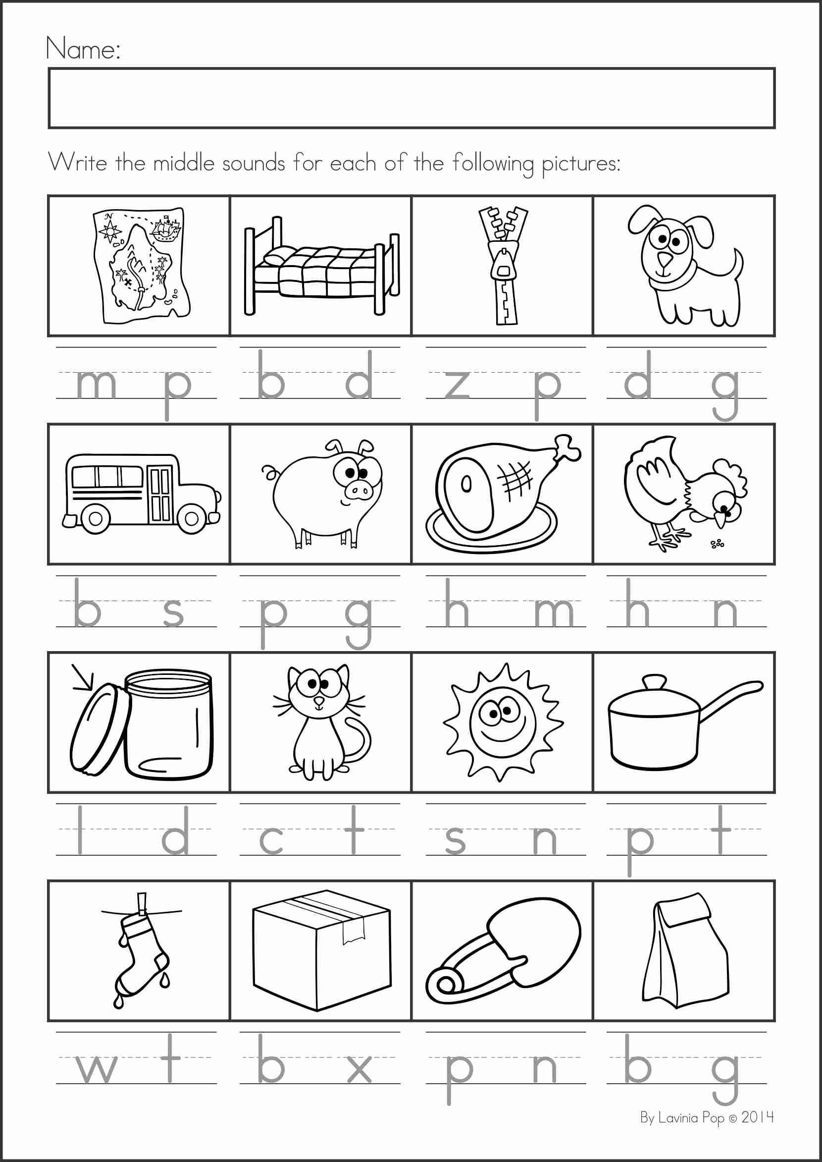 Middle sound Worksheets for Kindergarten Pin by Danielle Eicherl On Teaching