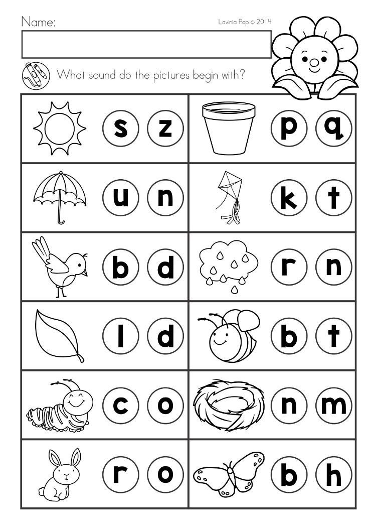 Middle sound Worksheets for Kindergarten Spring Kindergarten Math and Literacy Worksheets