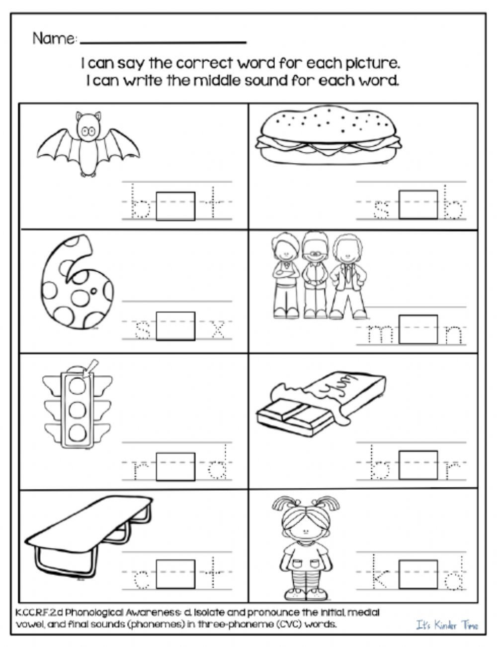 Middle sound Worksheets for Kindergarten who S In the Middle Interactive Worksheet
