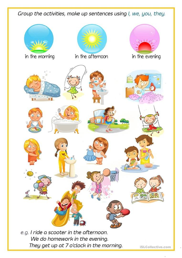 free time activitiesdaily routines parts of the da grammar drills picture description exercises writi 1