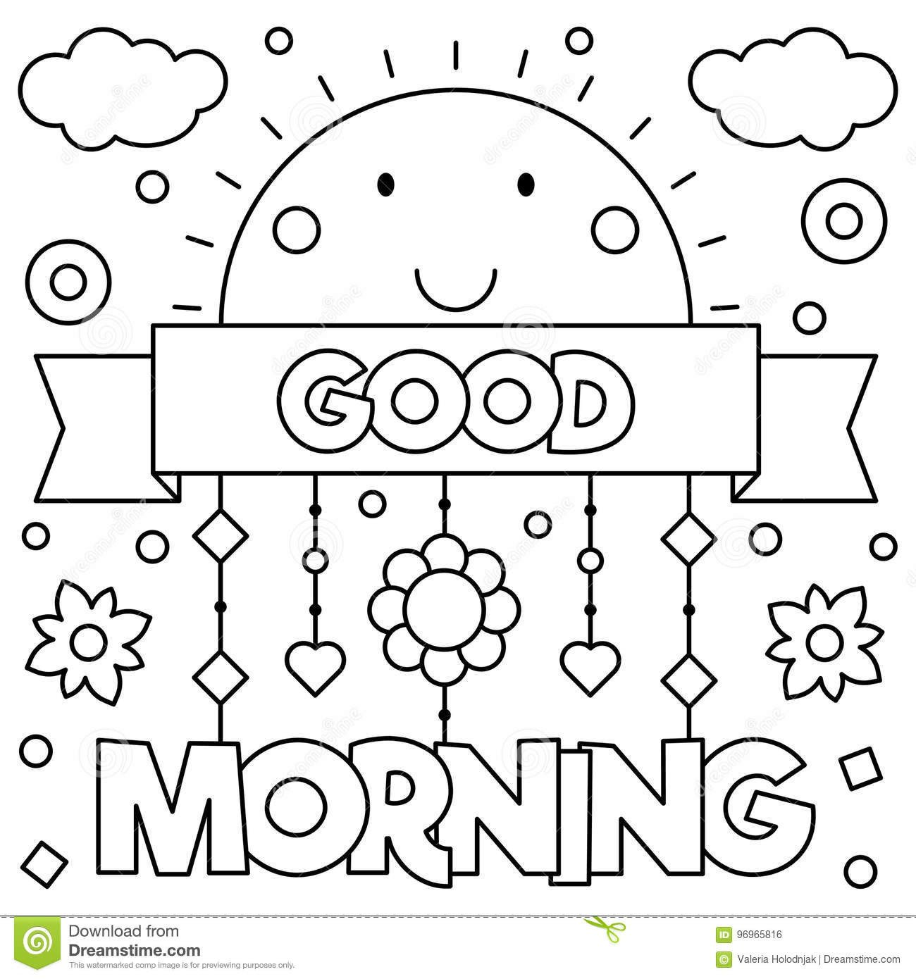 good morning coloring page vector illustration black white