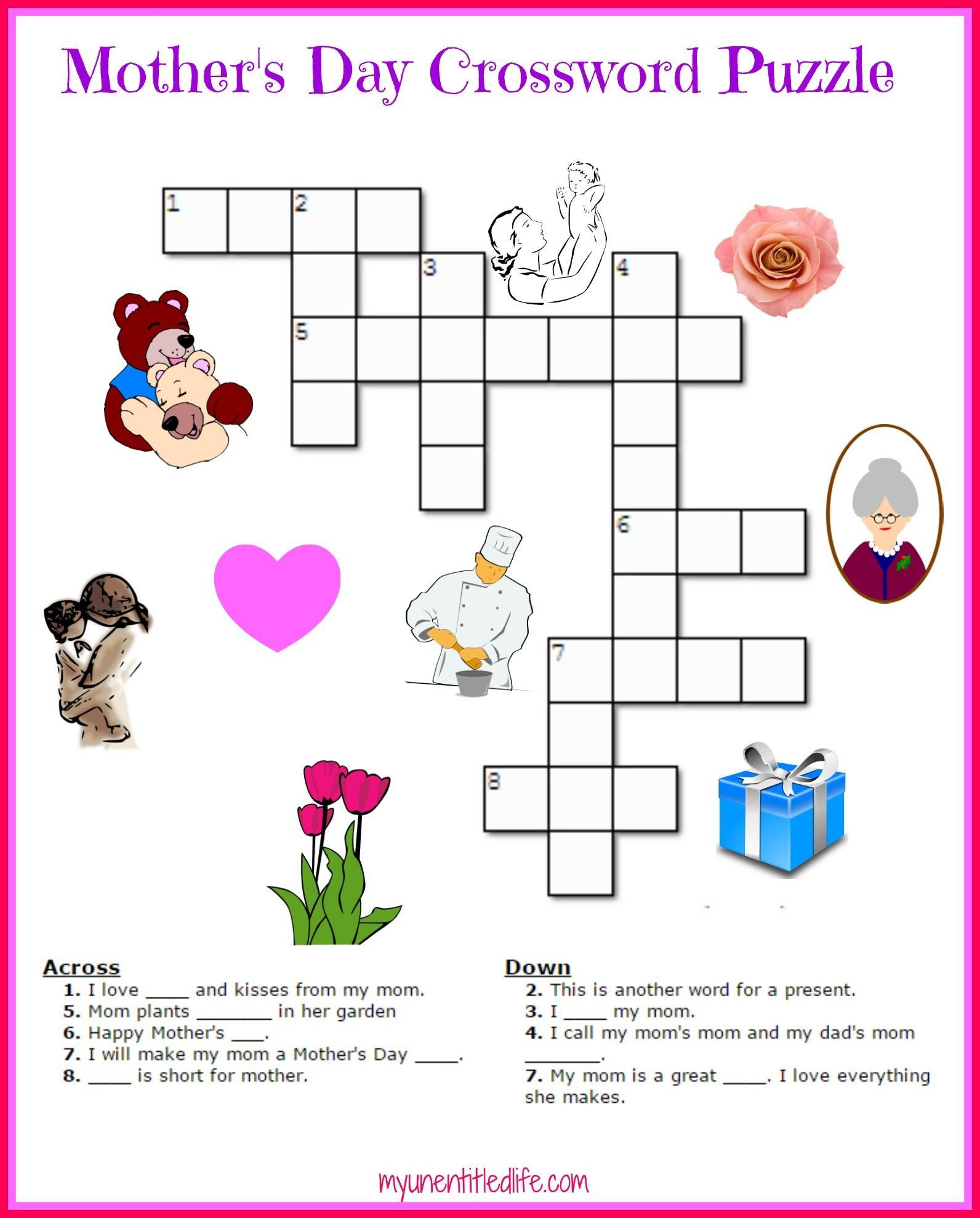 Mother Day Worksheets for Kindergarten Free Mother S Day Crossword Puzzle Printable