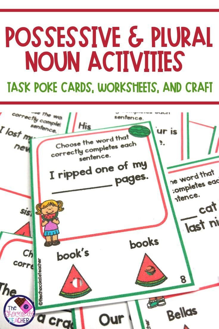 Nouns Worksheet for Kindergarten Possessive Nouns Worksheets Task Cards Craftivity