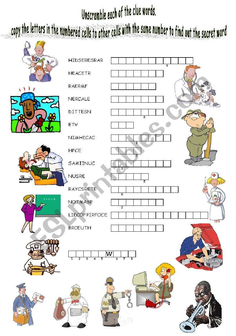 Occupation Worksheets for Kindergarten Find the Secret Word to Practise Jobs Vocabulary Esl