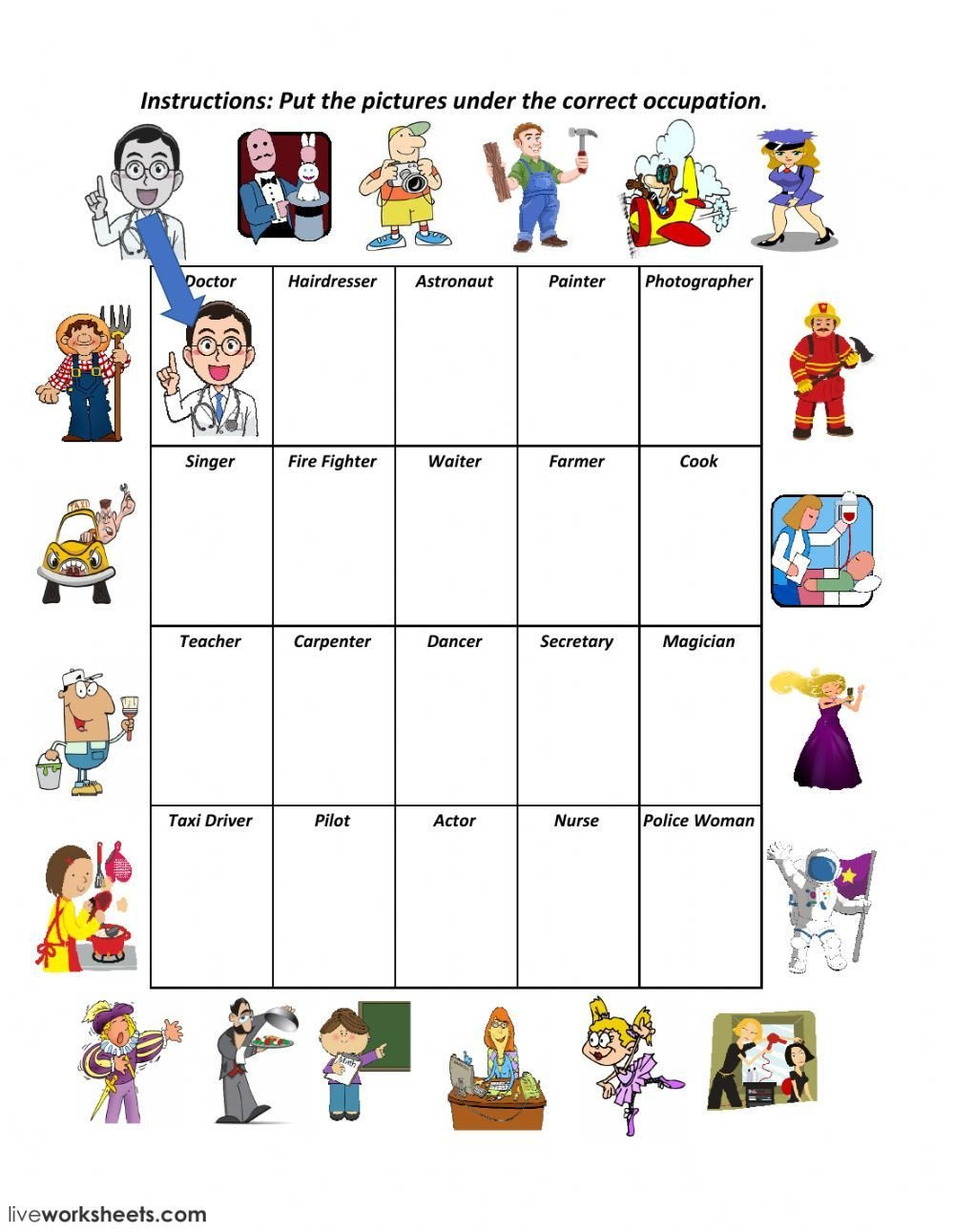 Occupation Worksheets for Kindergarten Jobs and Occupations Online Worksheet You Can Do the