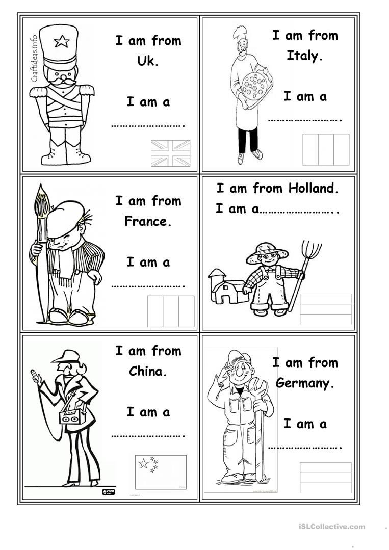 Occupation Worksheets for Kindergarten Occupations and Countries English Esl Worksheets for