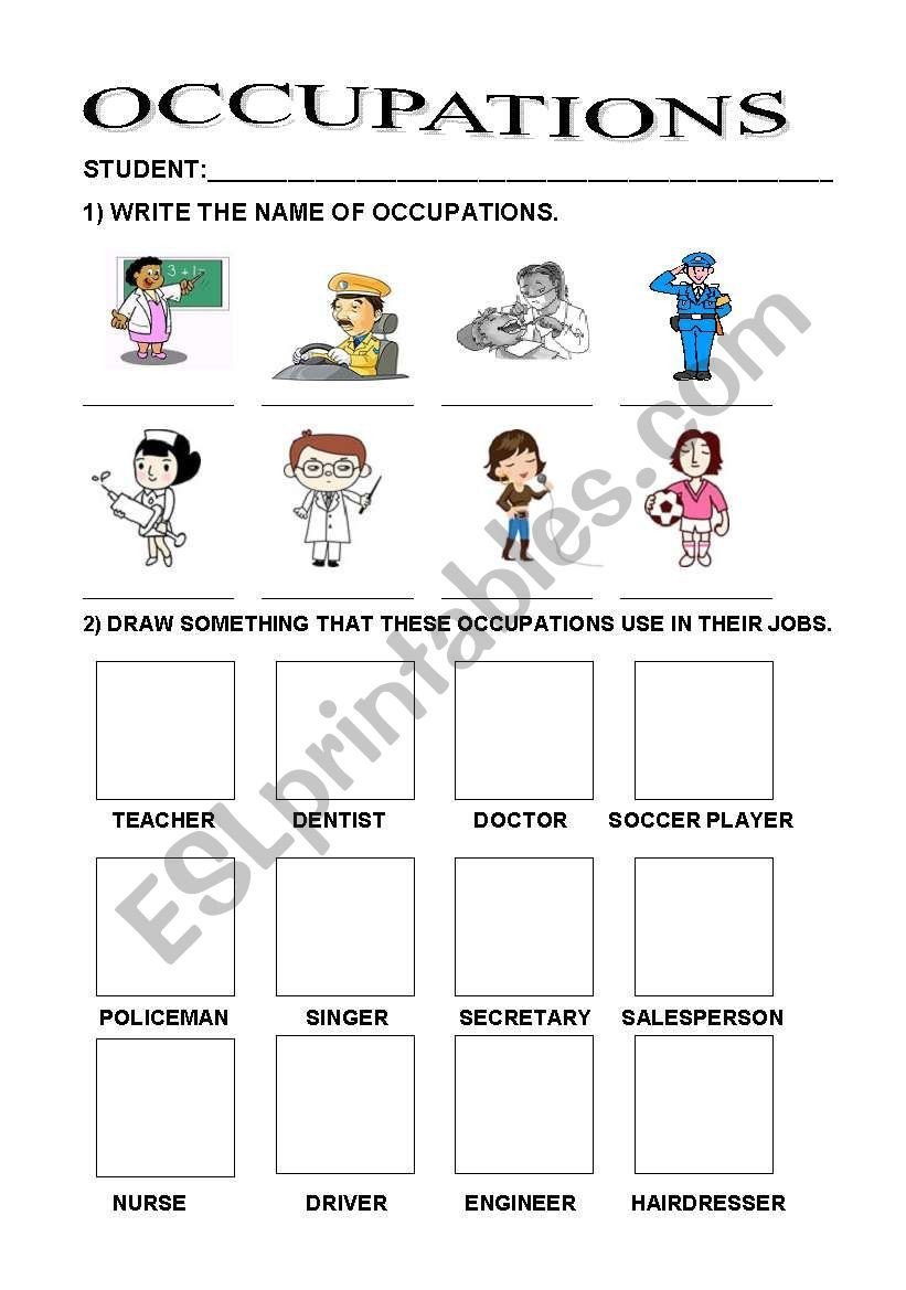Occupation Worksheets for Kindergarten Occupations Esl Worksheet by Nise