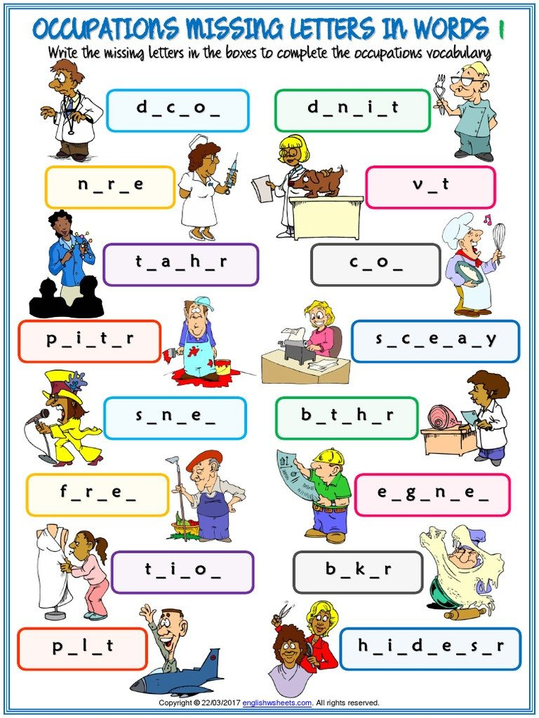 Occupation Worksheets for Kindergarten Occupations Vocabulary Esl Missing Letters In Words