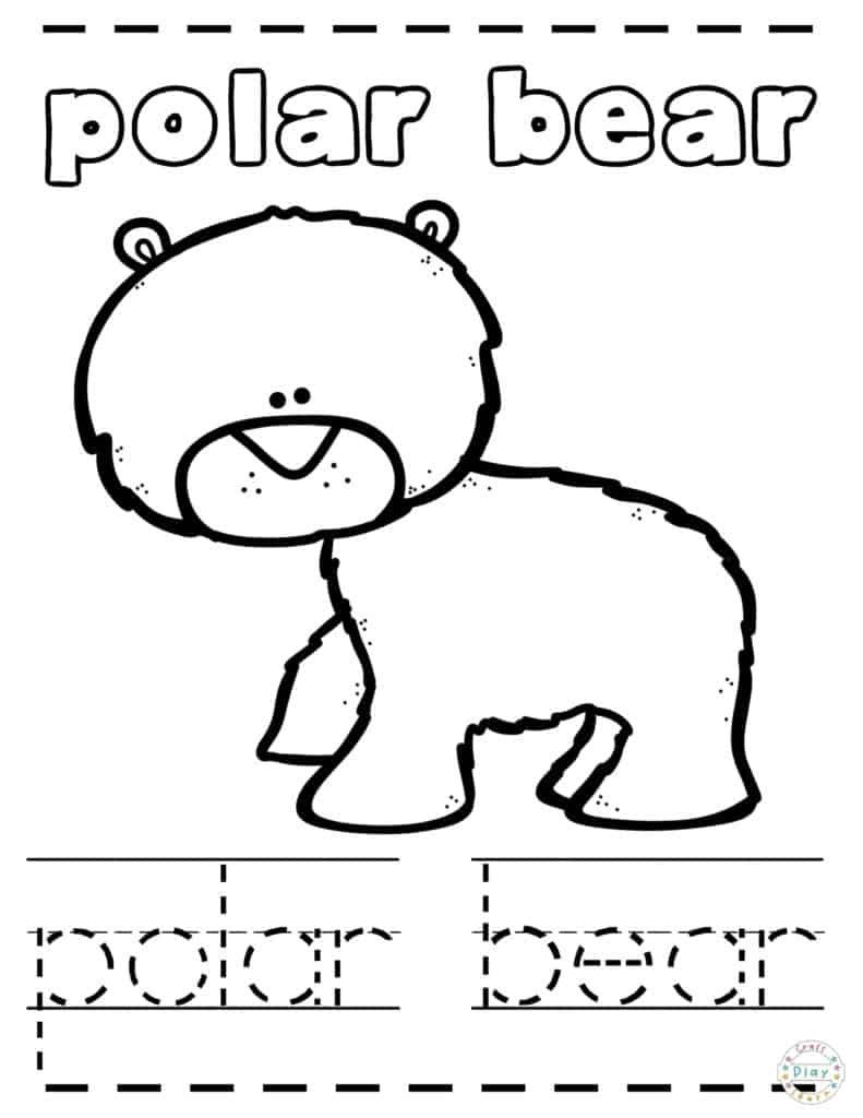Polar Bear Worksheets Kindergarten Arctic Coloring Pages for Kids Craft Play Learn