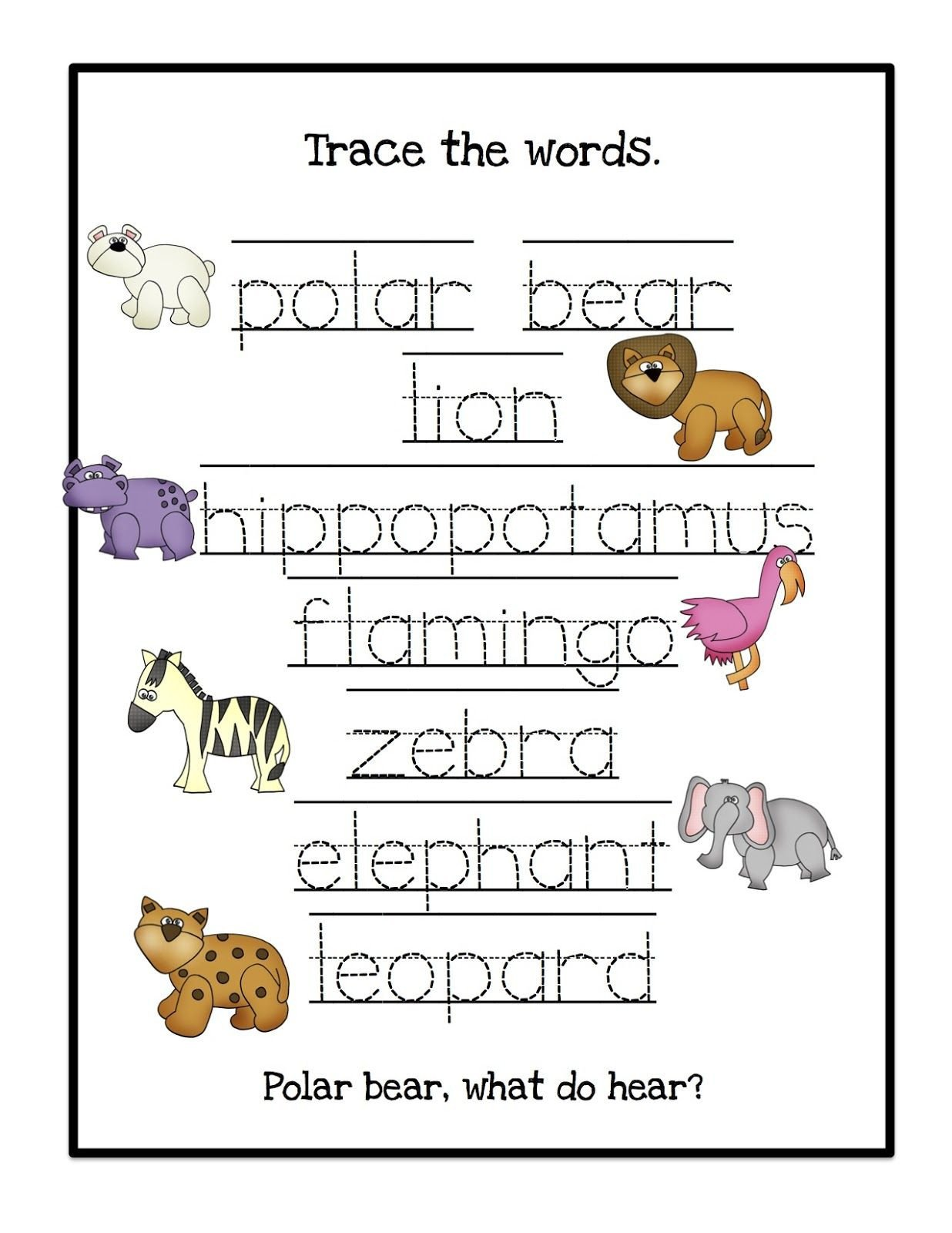 "Polar Bear Worksheets Kindergarten Polar Bear ""what Do You Hear "" Printable Preschool"