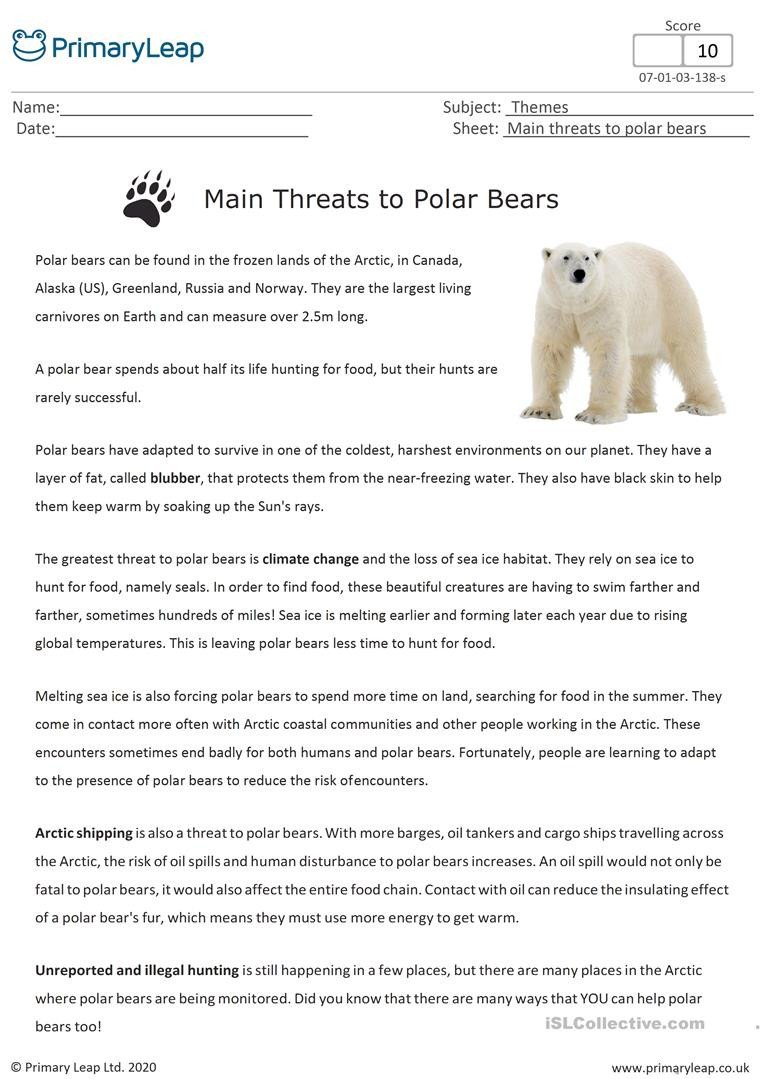 Polar Bear Worksheets Kindergarten Reading Prehension Main Threats to Polar Bears