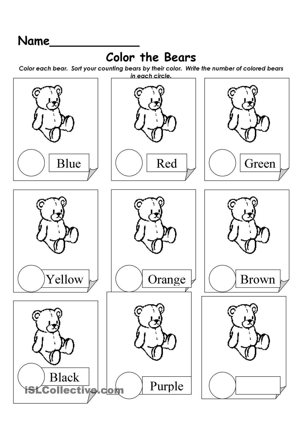 Polar Bear Worksheets Kindergarten sort Bears Worksheet