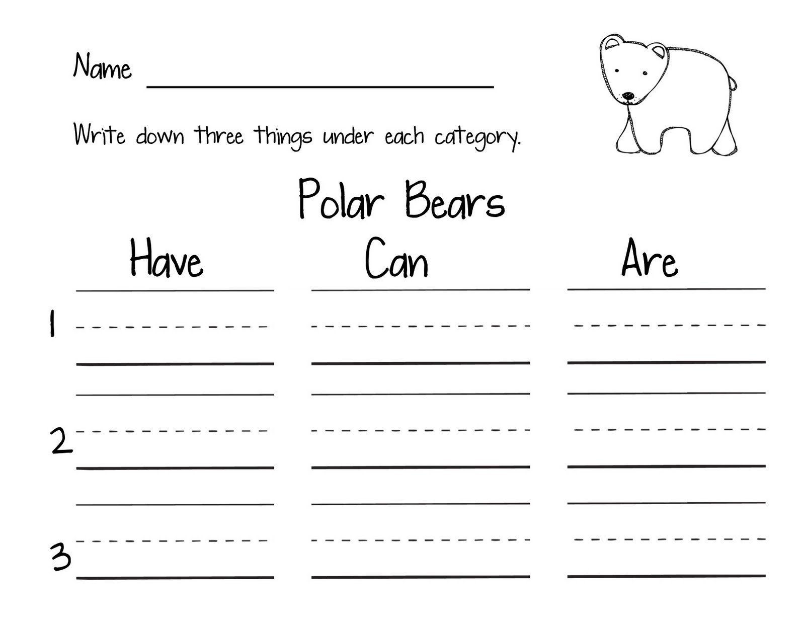 Polar Bear Worksheets Kindergarten Teach Love Laugh Polar Bear Polar Bear