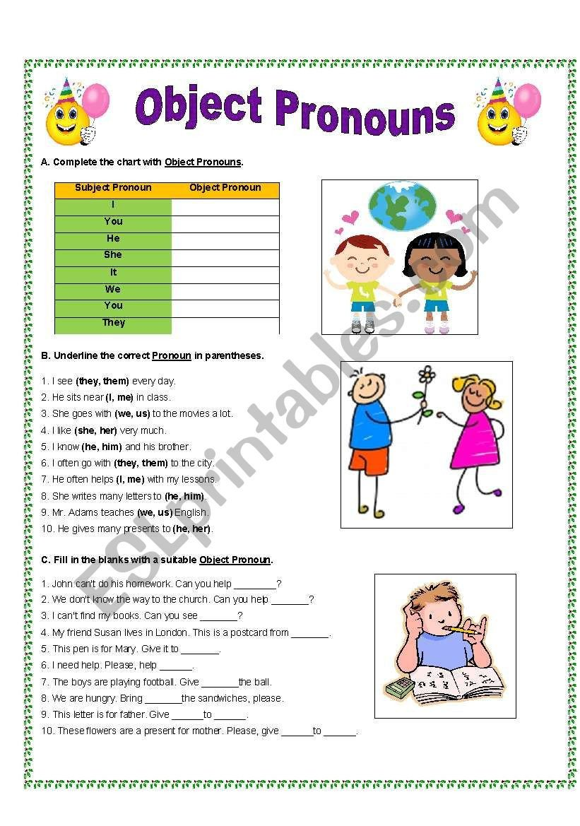 Pronoun Worksheets for Kindergarten Object Pronouns Esl Worksheet by Gitasiva Worksheets Free