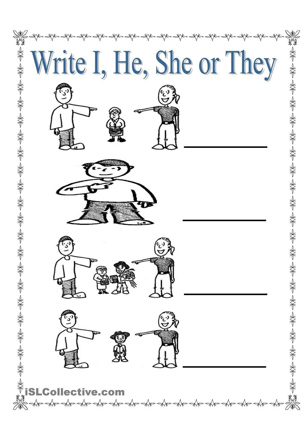 Pronoun Worksheets for Kindergarten Personal Pronouns I She He and they