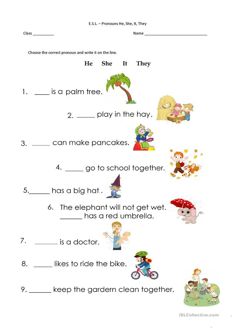 Pronoun Worksheets for Kindergarten Pronouns He She It they English Esl Worksheets for