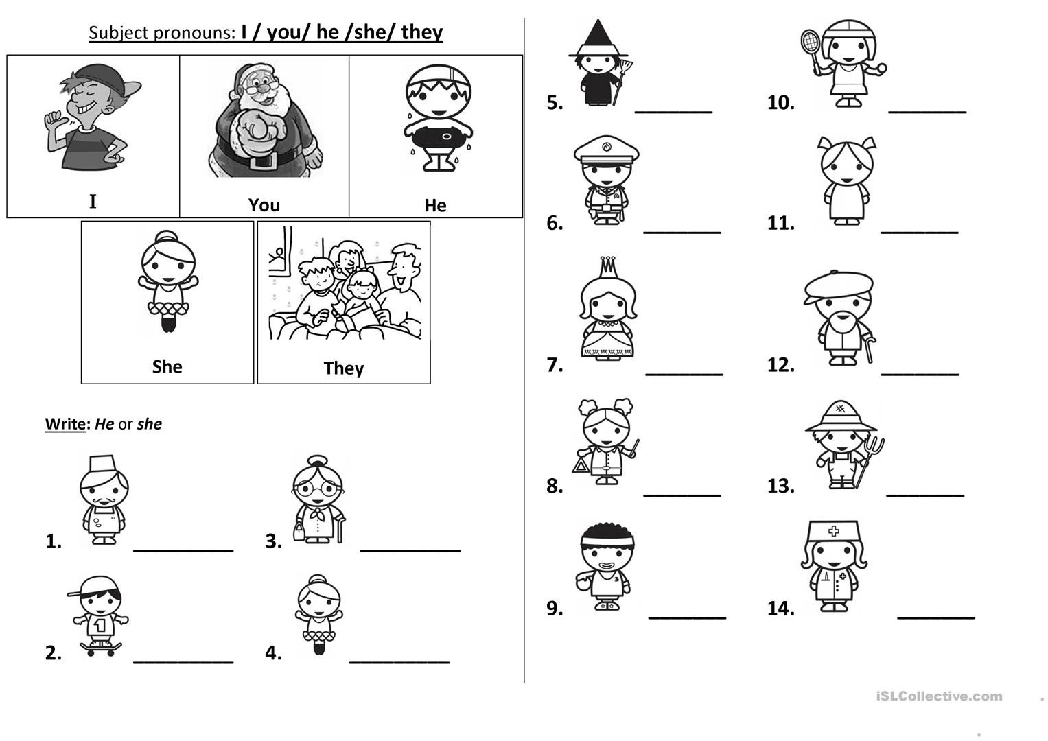 Pronoun Worksheets for Kindergarten Pronouns Worksheet for Kids