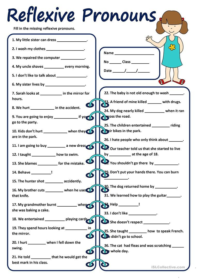 Pronoun Worksheets for Kindergarten Reflexive Pronouns Worksheets