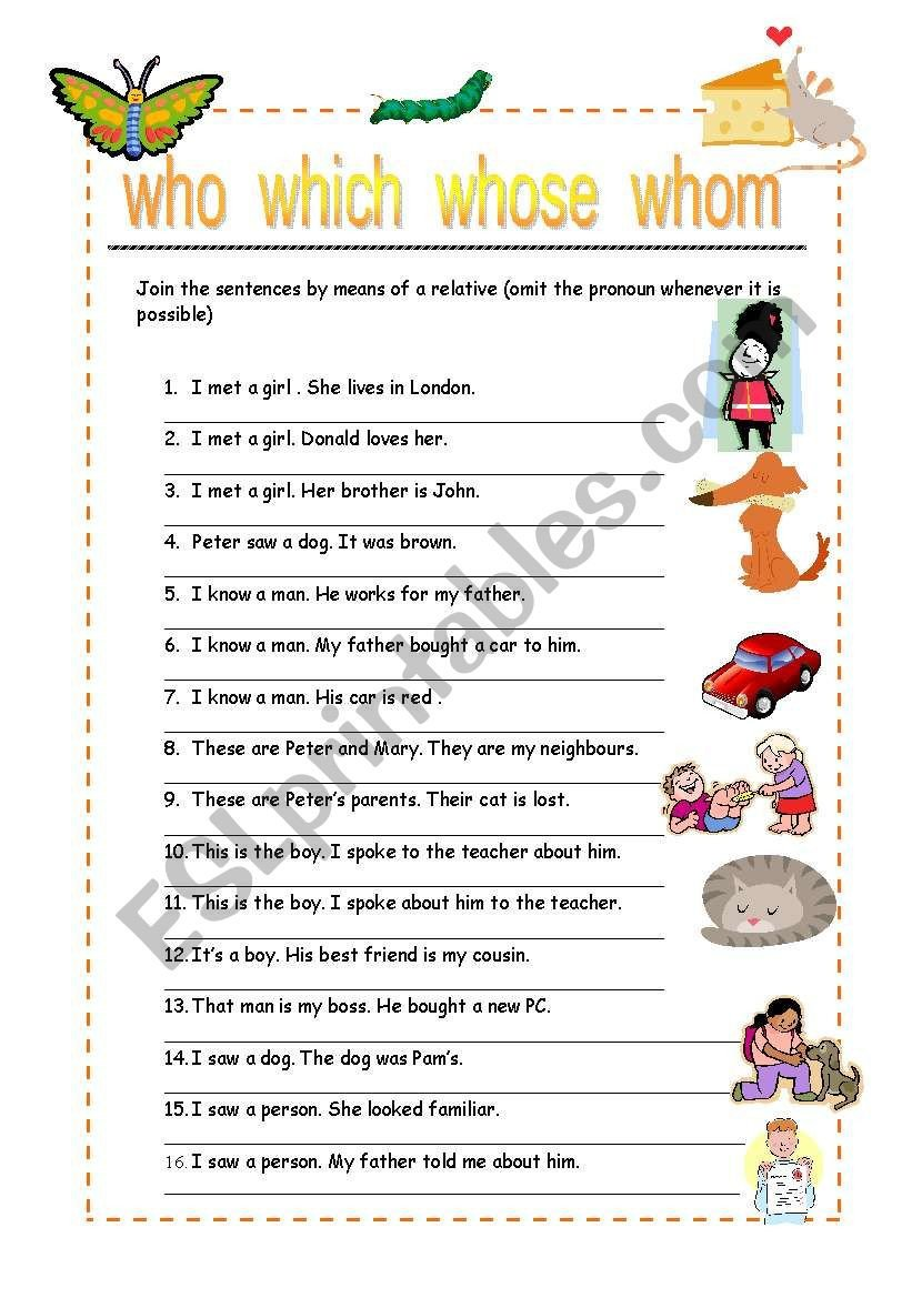 Pronoun Worksheets for Kindergarten Relative Pronouns Esl Worksheet by Cartuxa