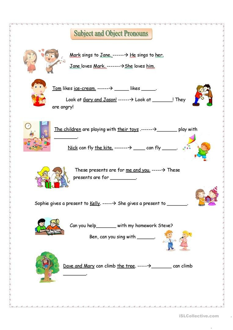 Pronoun Worksheets for Kindergarten Subject and Object Pronouns English Esl Worksheets for