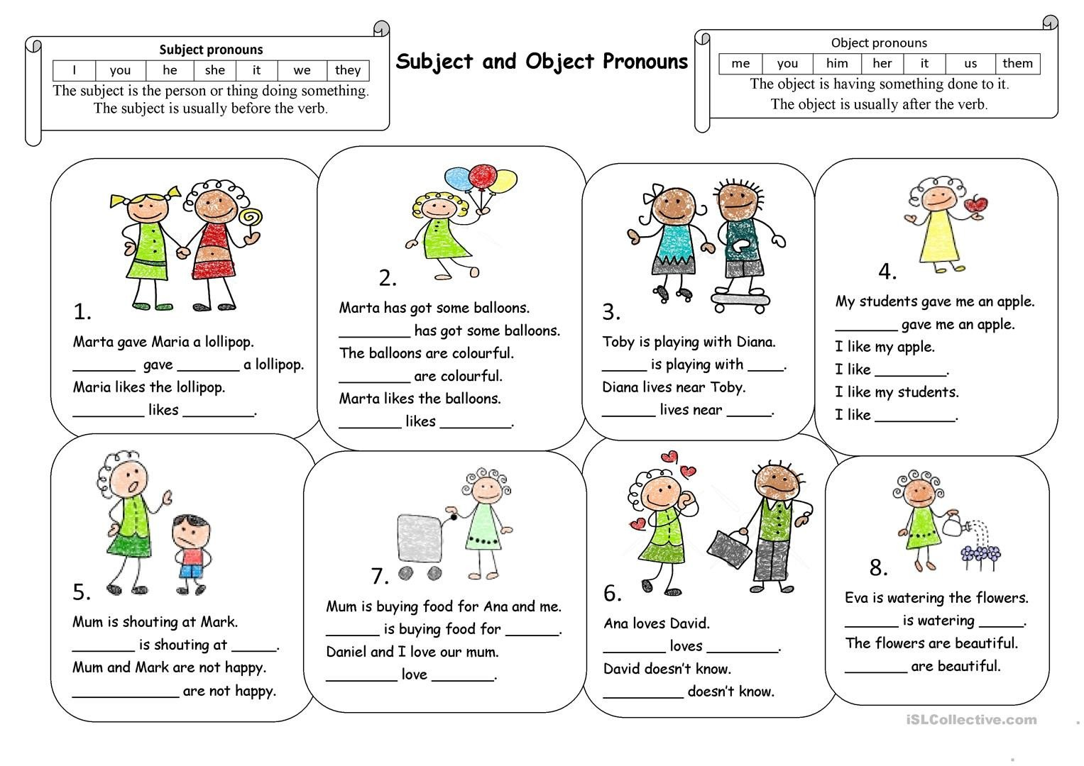 subject and object pronouns fun activities games icebreakers oneonone activiti 1