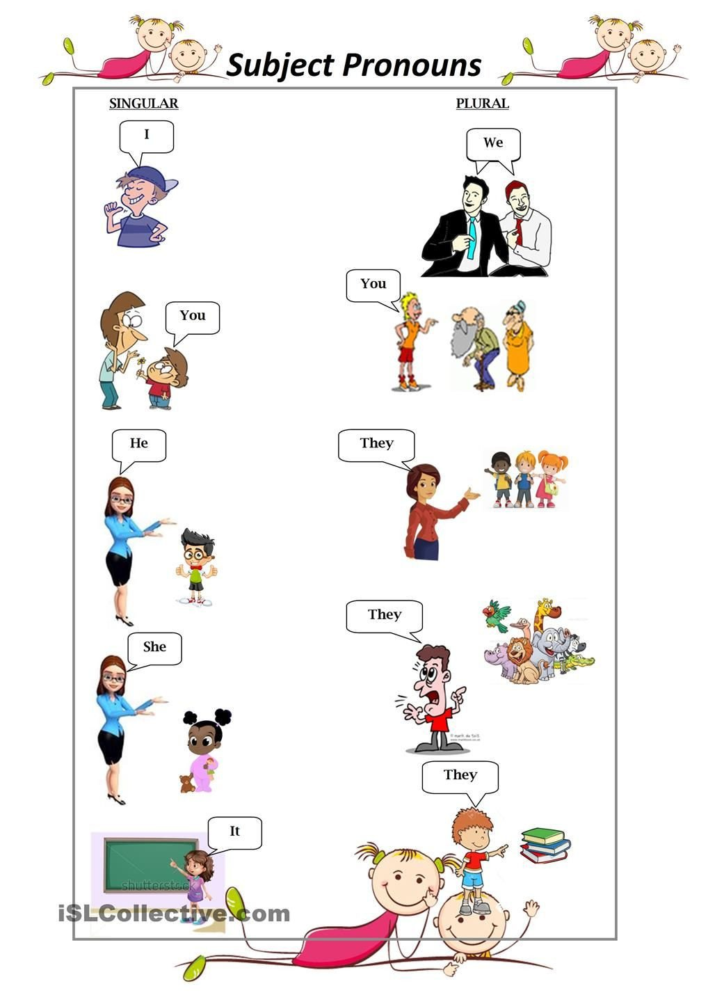 Pronoun Worksheets for Kindergarten Subject Personal Pronouns
