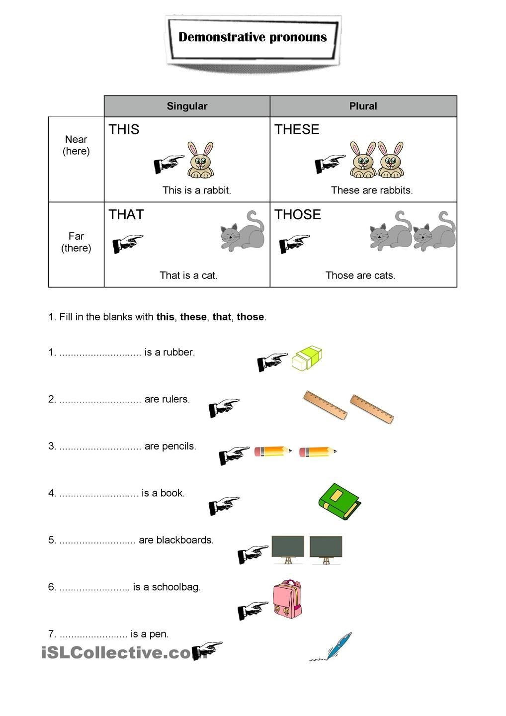 this and these worksheets for kindergarten worksheet demonstrative pronouns ejercicios ingles