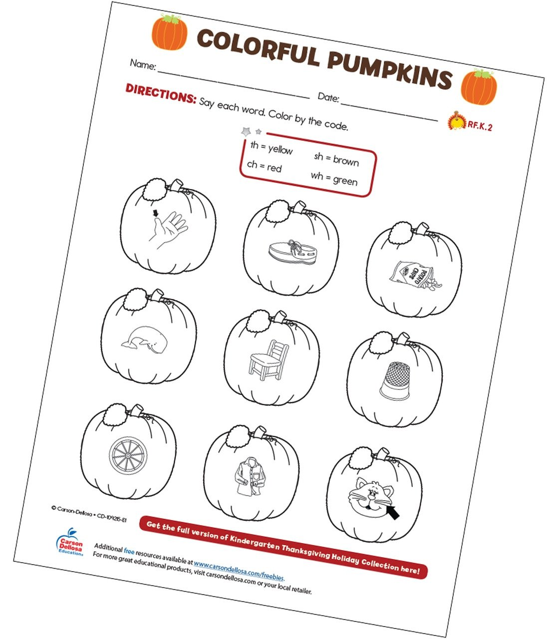 Pumpkin Worksheets for Kindergarten Colorful Pumpkins Free Printable
