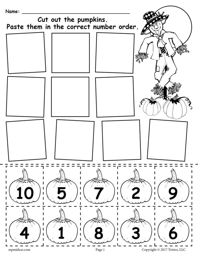 Pumpkin Worksheets for Kindergarten Printable Pumpkin Number ordering Worksheet 1 10