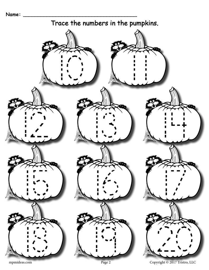 Pumpkin Worksheets for Kindergarten Printable Pumpkin Number Tracing Worksheets 1 20