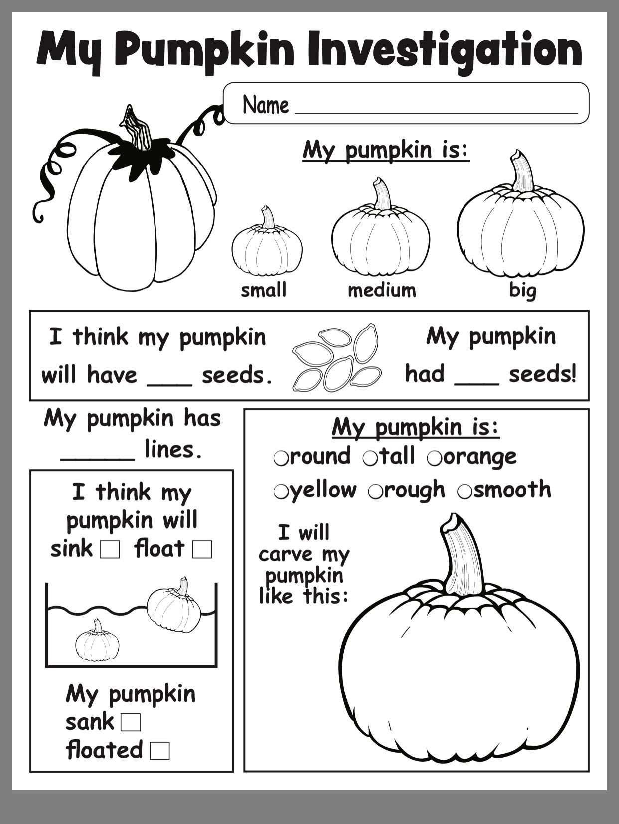 Pumpkin Worksheets for Kindergarten Pumpkin Investigation