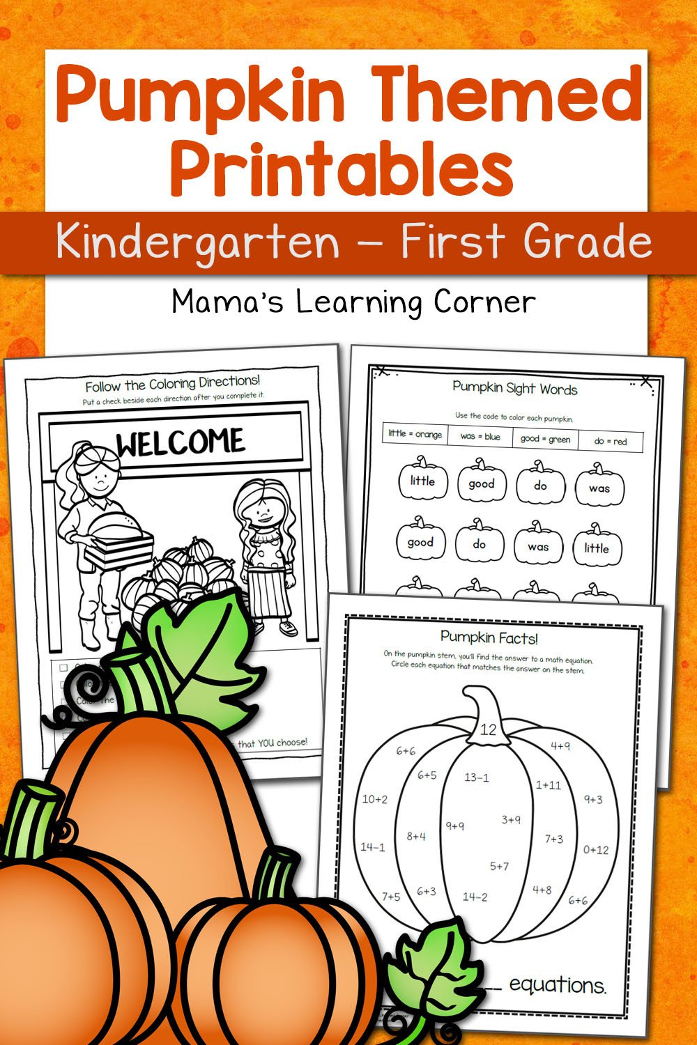 Pumpkin Worksheets for Kindergarten and First Grade Mamas