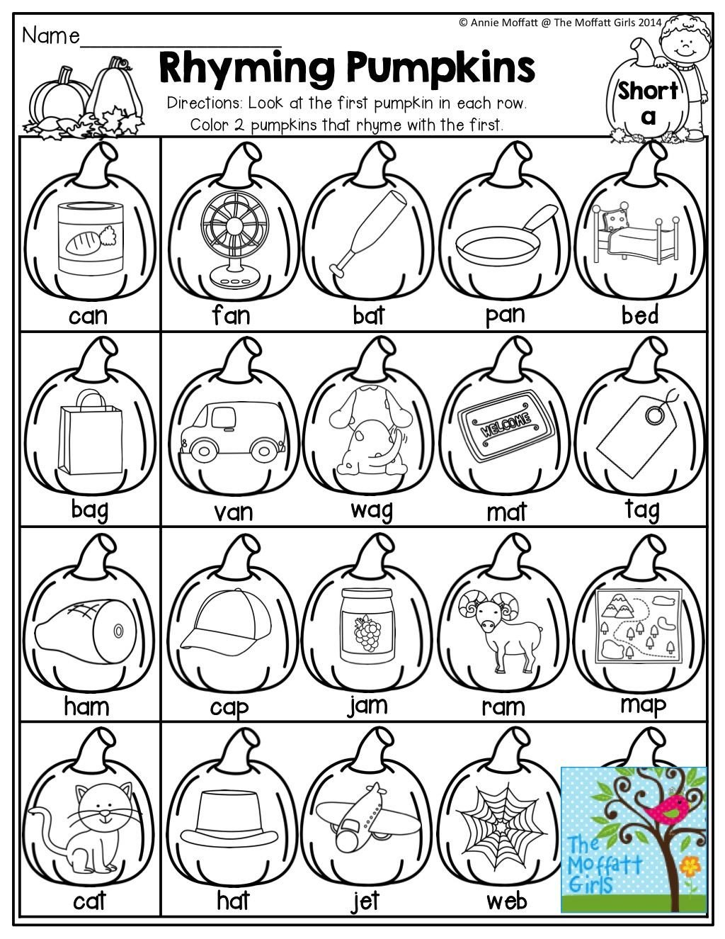 Pumpkin Worksheets for Kindergarten Rhyming Pumpkins Match the First Pumpkin with the Pumpkin