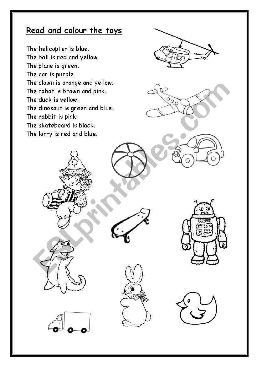 Read and Color Worksheets Read and Colour the toys Esl Worksheet by Lu25