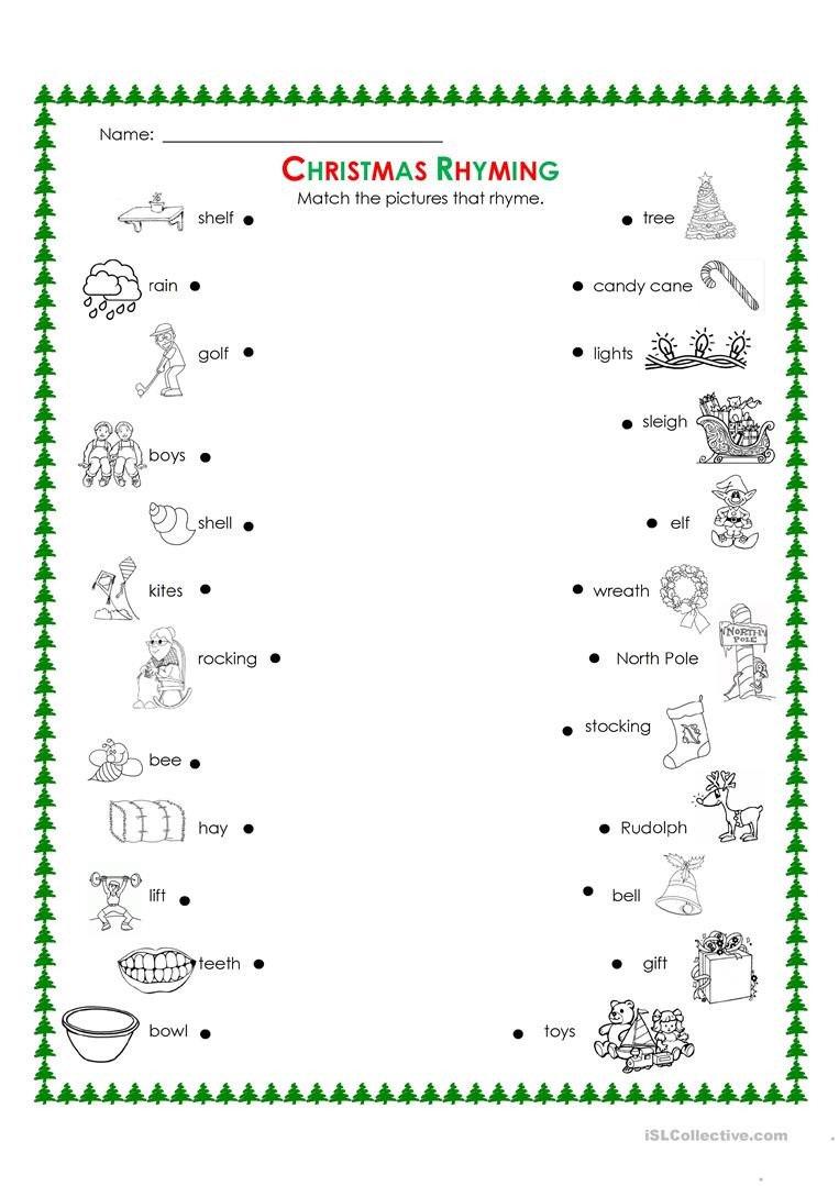 Rhyming Words Kindergarten Worksheets Christmas Rhyming English Esl Worksheets for Distance