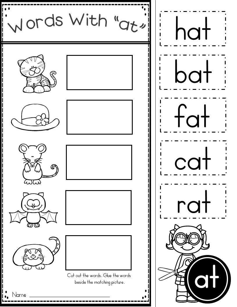 Rhyming Words Kindergarten Worksheets Free Word Family at Practice Printables and Activities