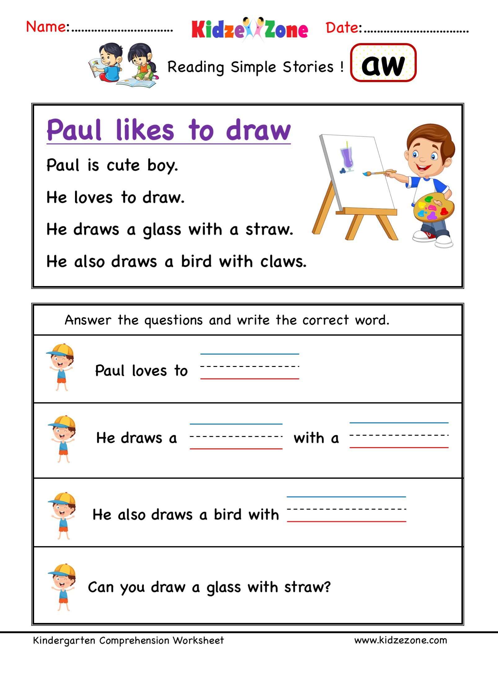 Rhyming Words Kindergarten Worksheets Kindergarten Worksheets Aw Word Family Prehension 3