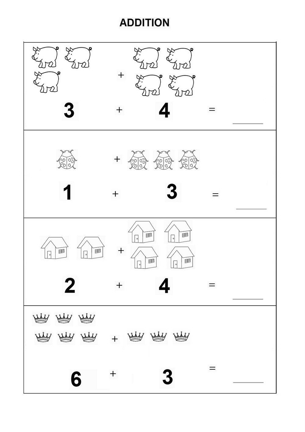 Simple Addition Worksheets Kindergarten Addition Worksheets for Kindergarten 2019