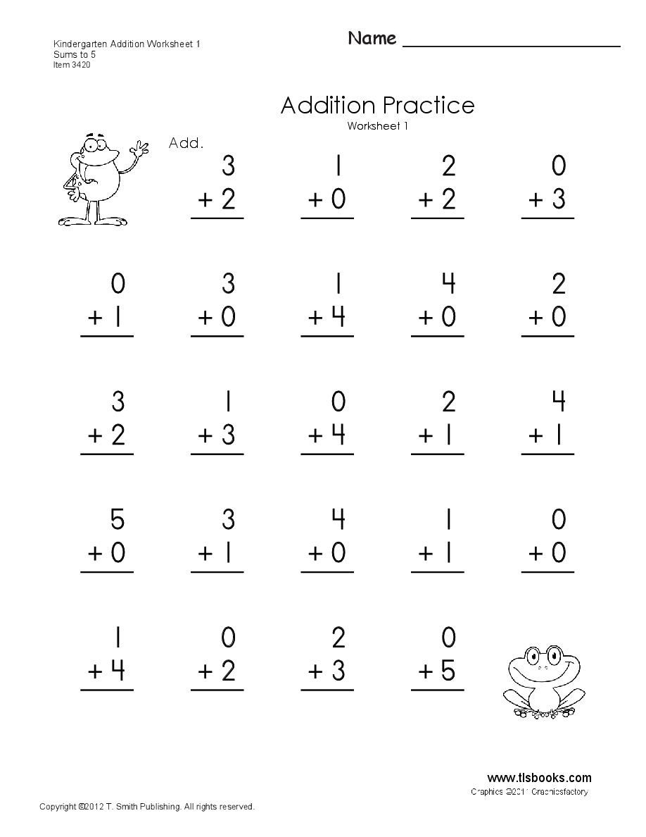 Simple Addition Worksheets Kindergarten Free Simple Addition Worksheets Math Free