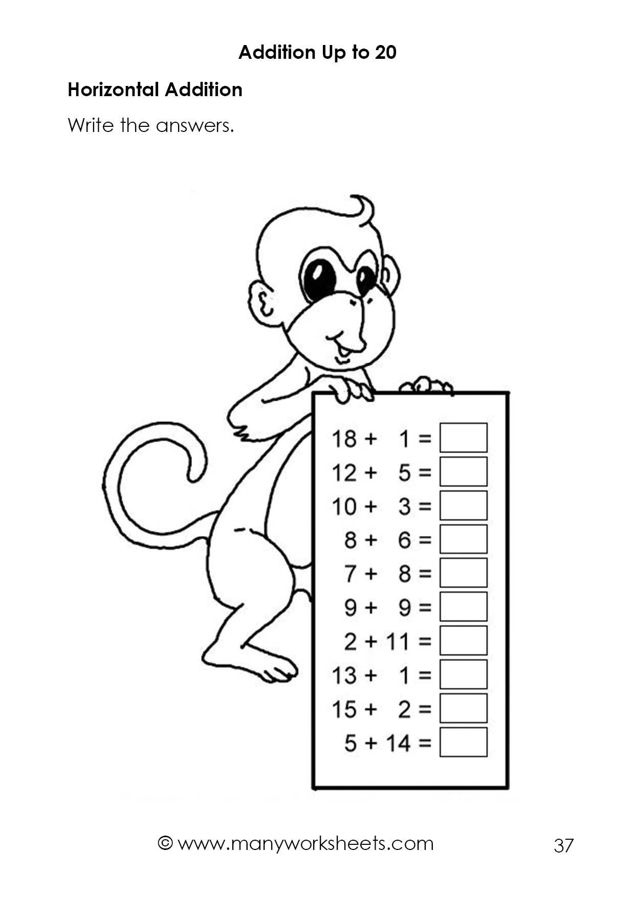 Simple Addition Worksheets Kindergarten Horizontal Addition Worksheets – Adding Numbers Up to 20